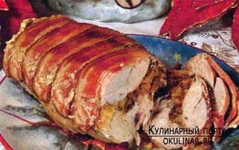 Свиная корейка с грибами
